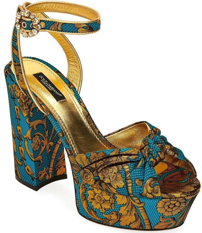Floral Jacquard Platform Sandals