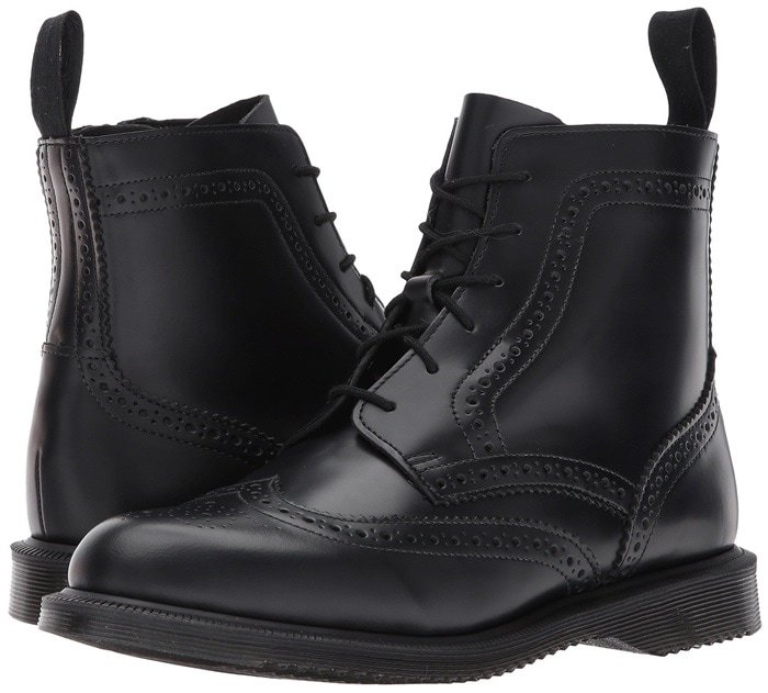 Black Polished Smooth Delphine 6-Eye Brogue Boot