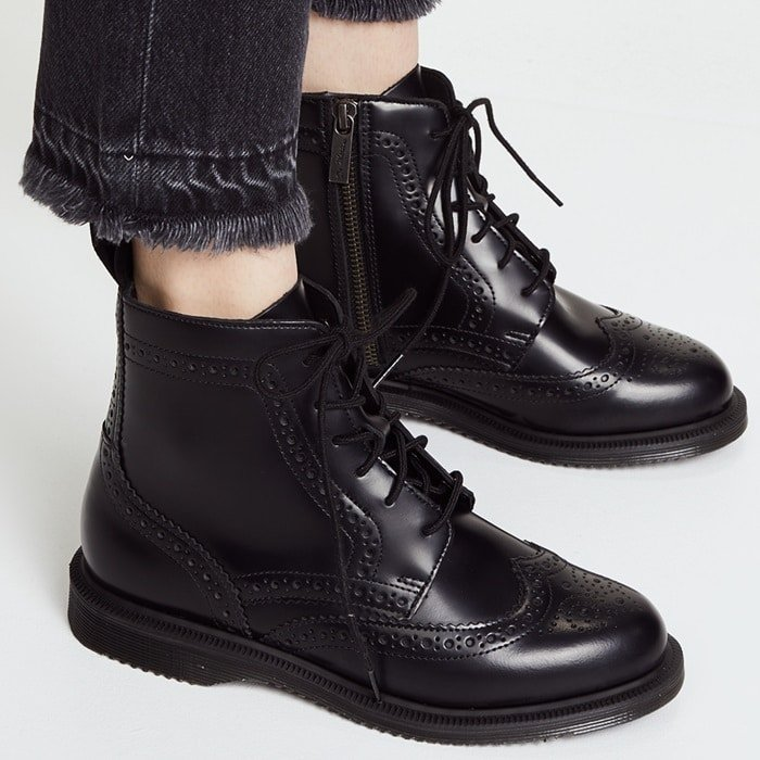 This casual, ankle-high boot with classic brogue blends an updated, modern boot with classic touches, creating a timeless look