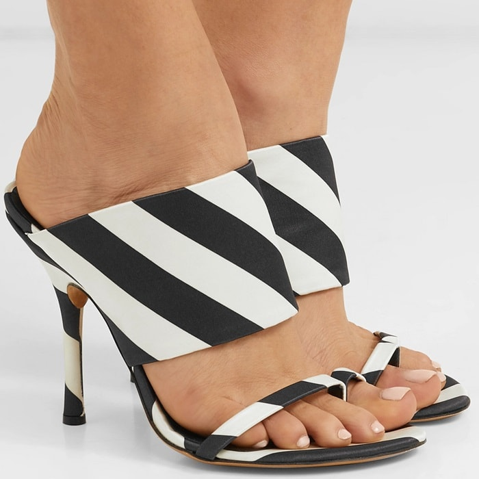 Black and white DRIES VAN NOTEN Striped satin mules
