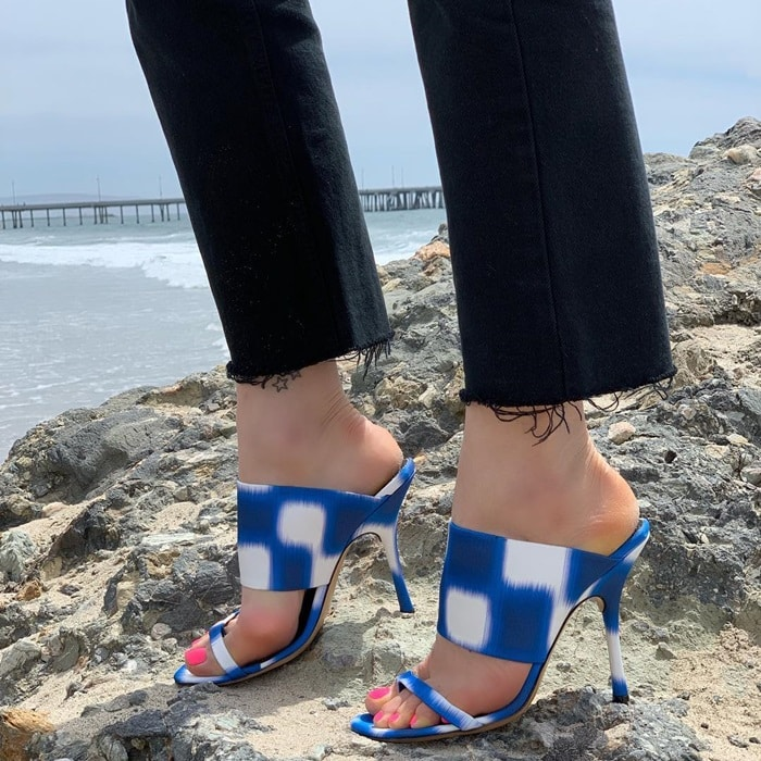 Blue/White Checked Fabric Stiletto Sandals