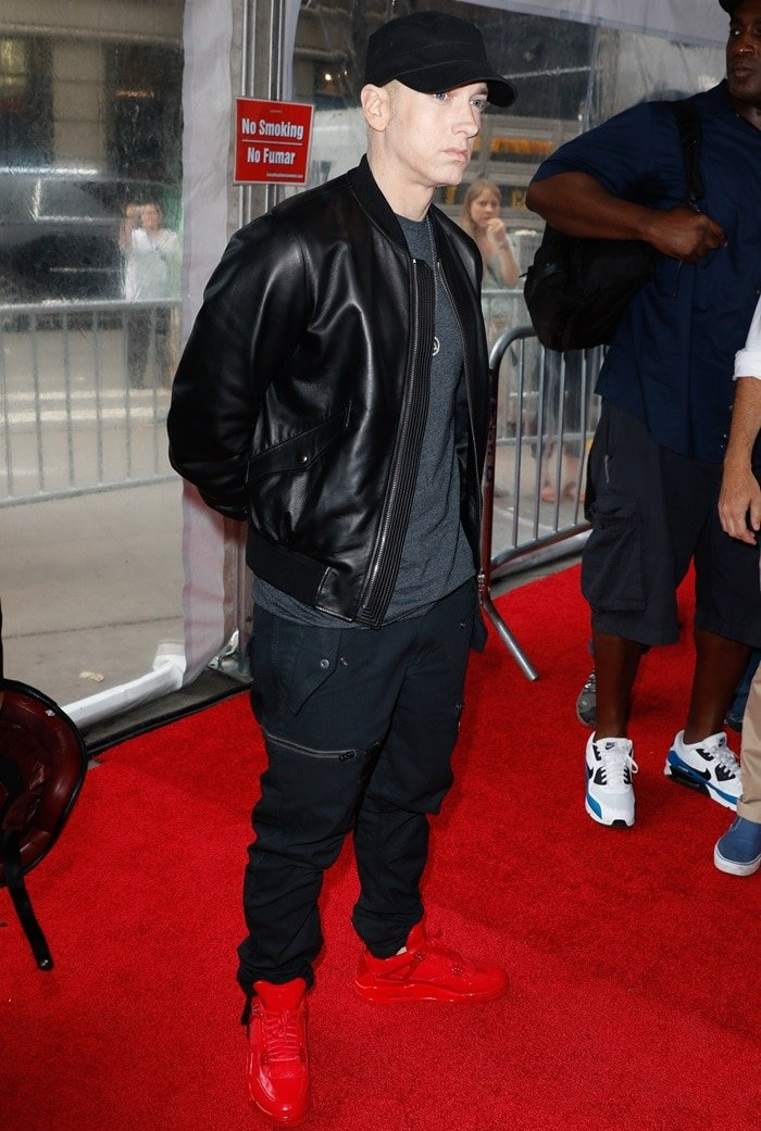 Eminem, who lends his voice to the movie's soundtrack, at the premiere of Southpaw