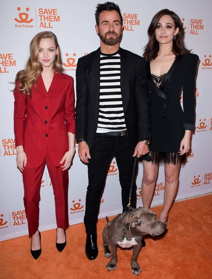 Amanda Seyfried, Justin Theroux, and Emmy Rossum at the 2019 Best Friends Animal Society's Benefit to Save Them All at Gustavino's in New York City on April 2, 2019