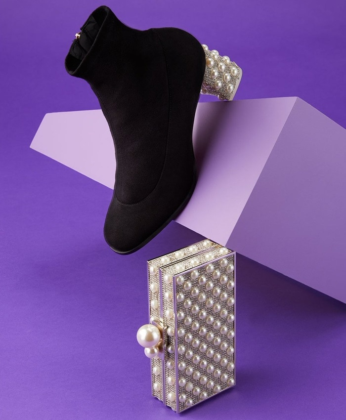 Sophia Webster's black Felicity ankle boots are set apart by a faux-pearl and crystal-embellished mid block heel for a note of opulence