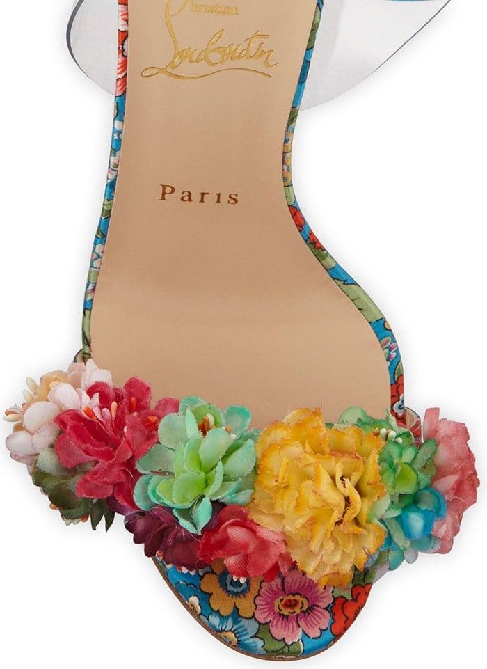Christian Louboutin floral satin sandals with flower appliqués