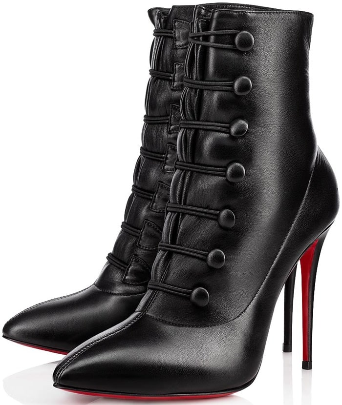 Christian Louboutin's black nappa leather French Tutu ankle boots fasten at the front with button-and-loop closures