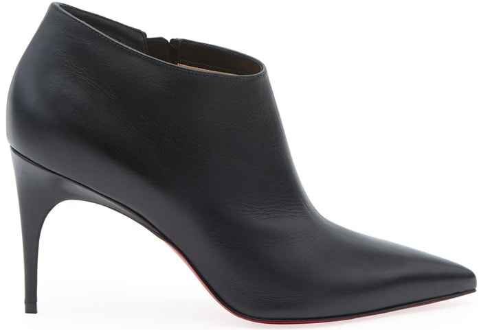 Black Gorgone Leather Red Sole Booties