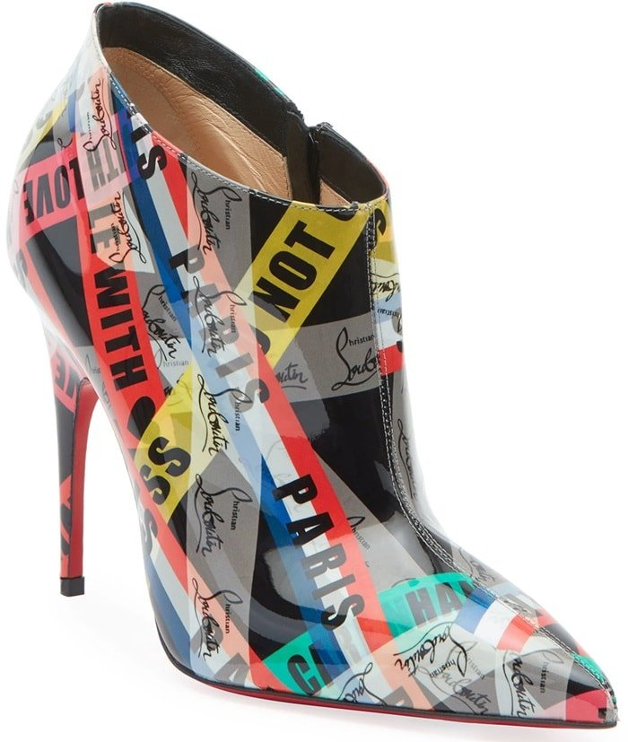 Christian Louboutin mixed logo-print patent leather booties