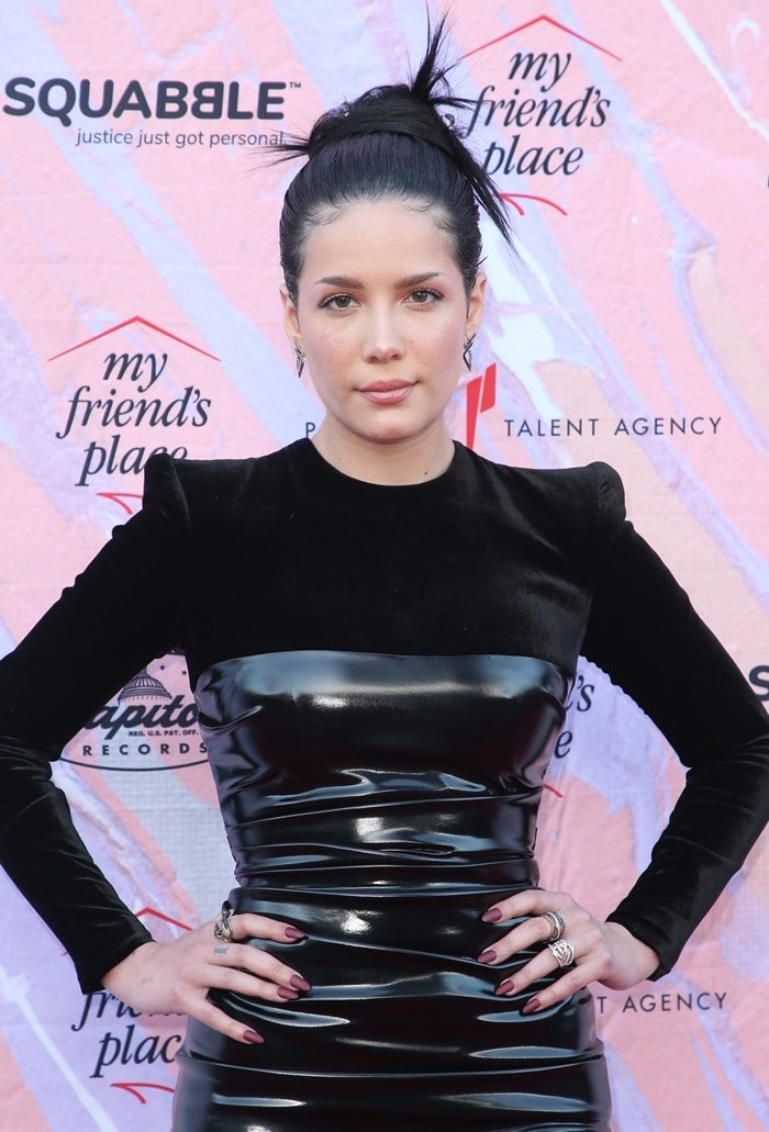 Halsey's ruched jersey-paneled vinyl midi dress