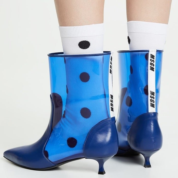 Hideous Blue Plastic Pointy Ankle Booties by MSGM