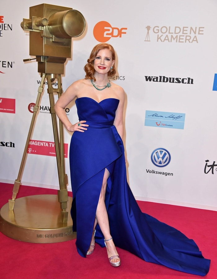 Jessica Chastain was awarded the Best International Actress Award at the 2019 Goldene Kamera Awards at the Pariser Platz in Berlin, Germany on March 30, 2019