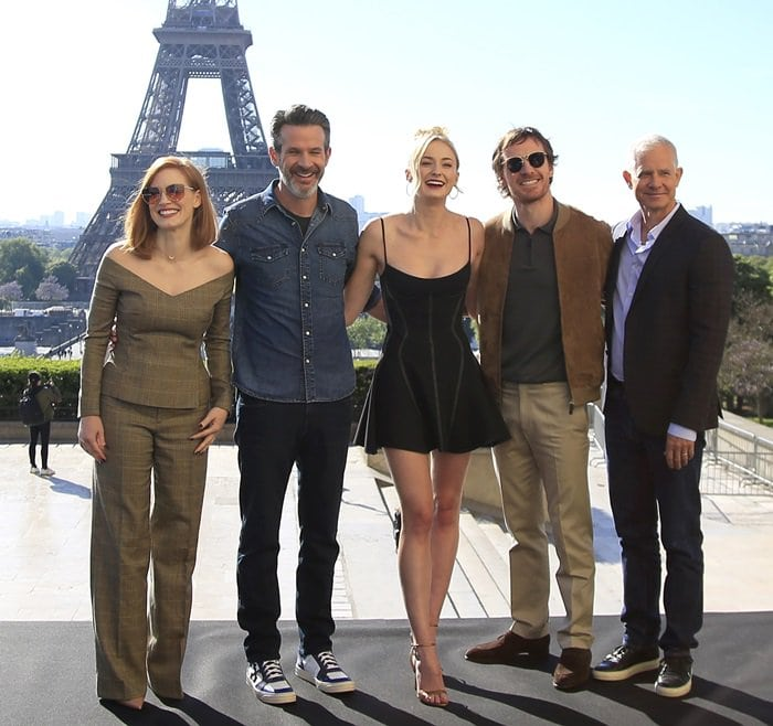 Jessica Chastain, Simon Kinberg, Sophie Turner, Michael Fassbender, and Hutch Parker at theX-Men: Dark Phoenix photocall held at Cafe De L'Homme in Paris, France, on April 26, 2019