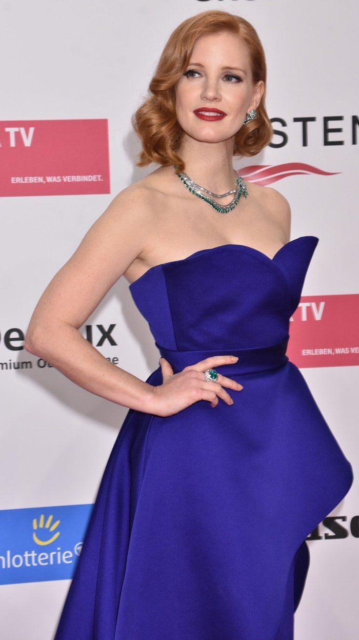 Jessica Chastain styled her electric blue dress with Piaget jewelry
