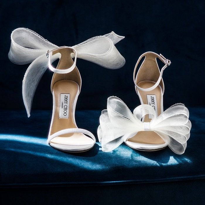 Latte Aveline Sandal with Asymmetric Grosgrain Mesh Fascinator Bows