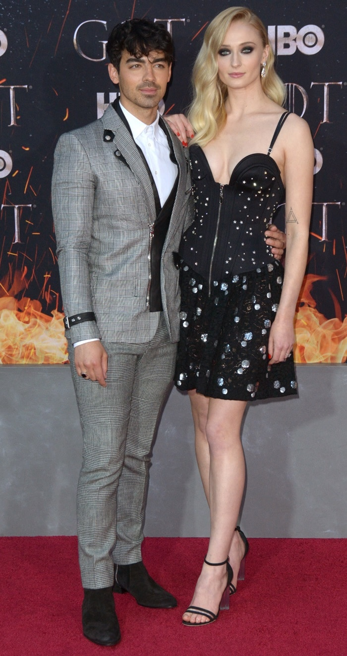 Joe Jonas and Sophie Turner at the season eight premiere of her series Game of Thrones held at Radio City Music Hall on April 3, 2019, in New York City