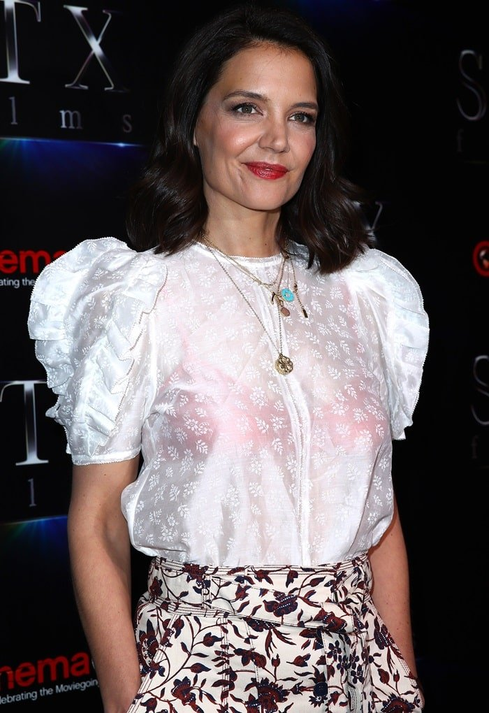 Katie Holmes exposed her pink bra at the 2019 CinemaCon STXfilms Presentation at The Colosseum at Caesars Palace in Las Vegas on April 2, 2019