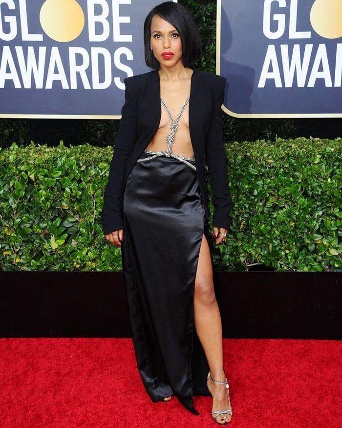 Kerry Washington rocked Magda Butrym's Ireland embellished suede sandals at the 2020 Golden Globe Awards