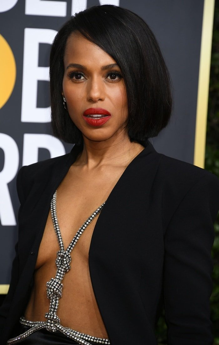 Kerry Washington was clearly thirsty for attention in a black blazer without a top