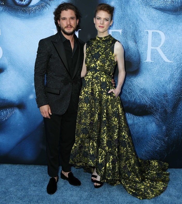 Kit Harington and Rose Leslie at the season 7 premiere of Game Of Thrones at Walt Disney Concert Hall in Los Angeles on July 12, 2017