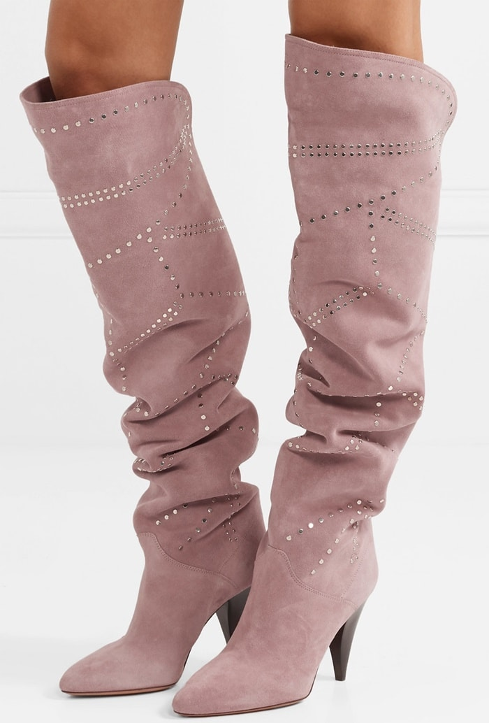 This slouchy pair is made from lilac suede and embellished with studs in a cool geometric pattern