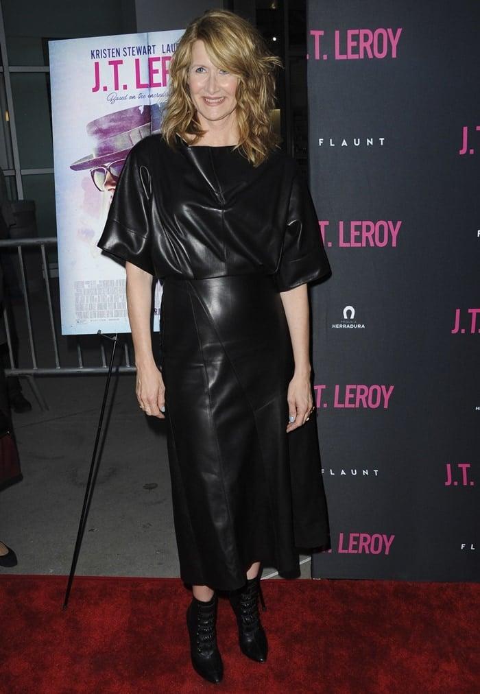 Laura Dern's black lamb leather Derek Lam Fall 2019 dress
