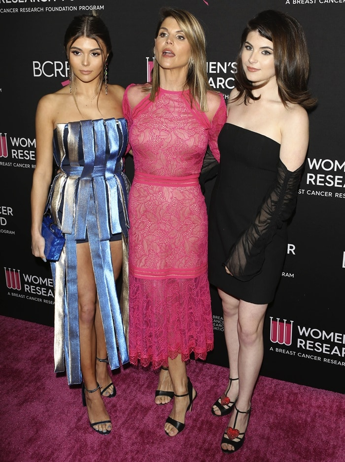 Lori Loughlin and her daughters Olivia Jade and Bella Giannulli attend The Women's Cancer Research Fund's An Unforgettable Evening Benefit Gala at the Four Seasons Hotel in Beverly Hills, California, on February 28, 2019