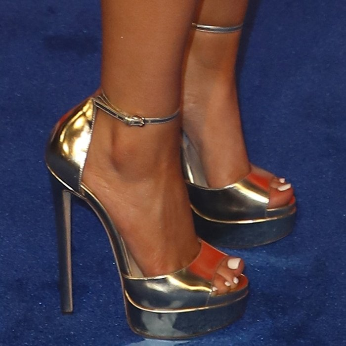 Maren Morris' hot feet and toes in gold Jimmy Choo 'Max' platforms