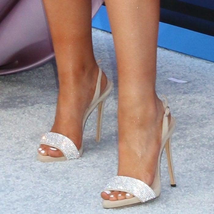 Maren Morris' hot feet in nude suede Sophie Crystal slingback sandals