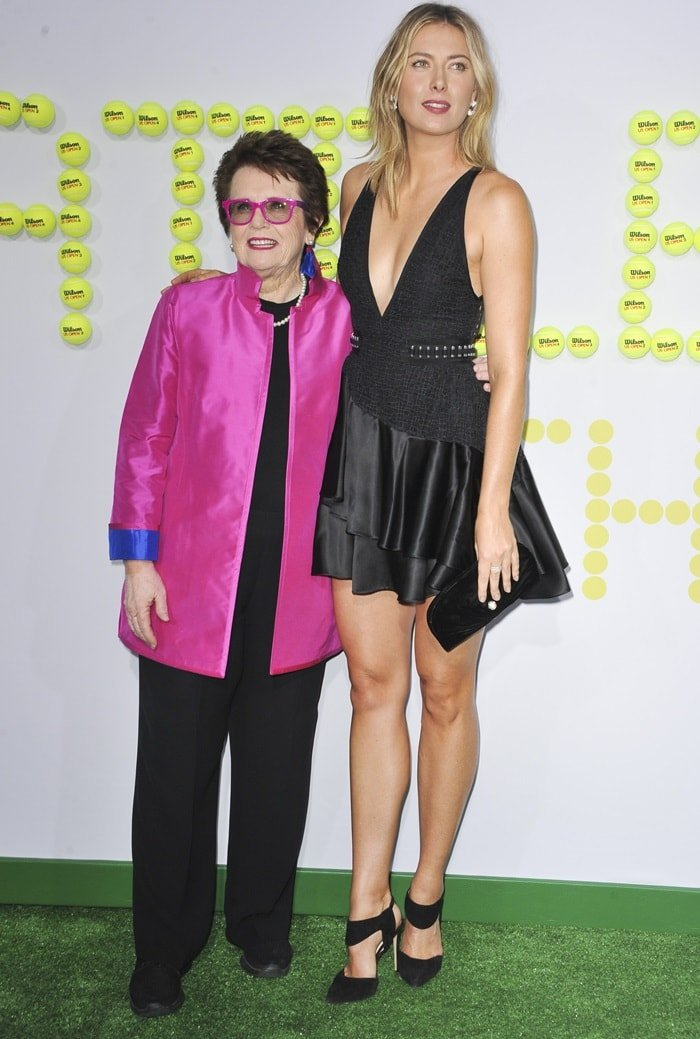 Maria Sharapova and Billie Jean King at the premiere of 'Battle of the Sexes' in Westwood, California, on September 16, 2017