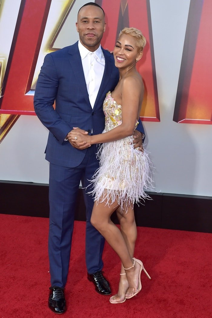 Meagan Good posing with her preacher husband, DeVon Franklin