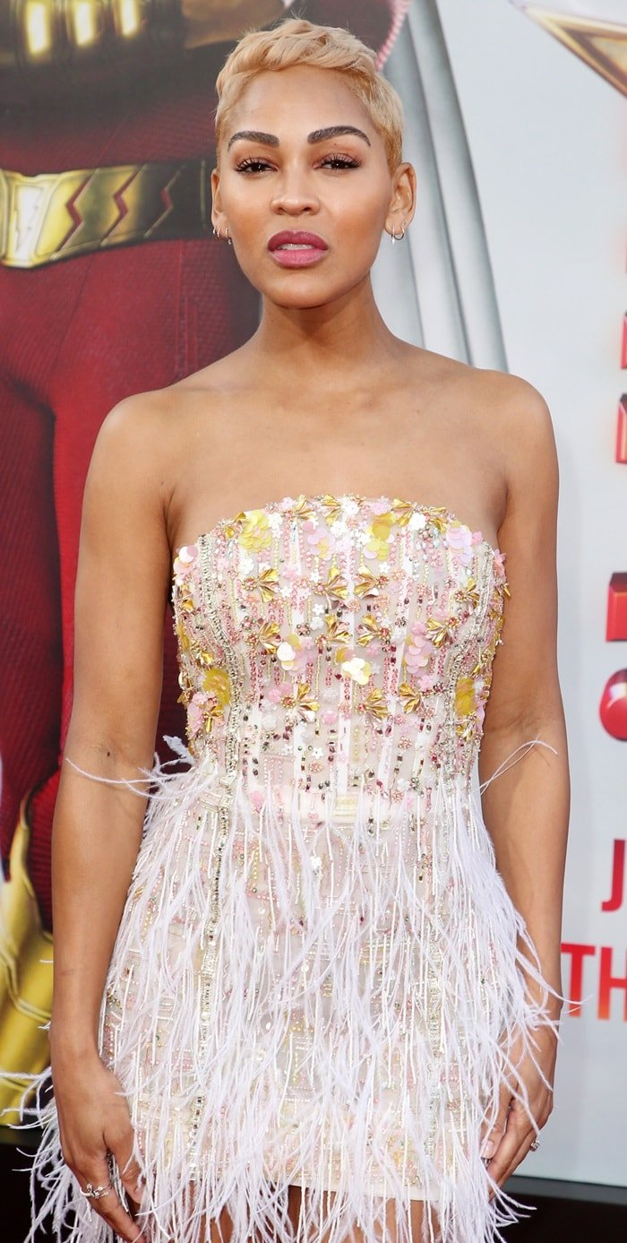 Meagan Good's embellished dress from Pamella Roland