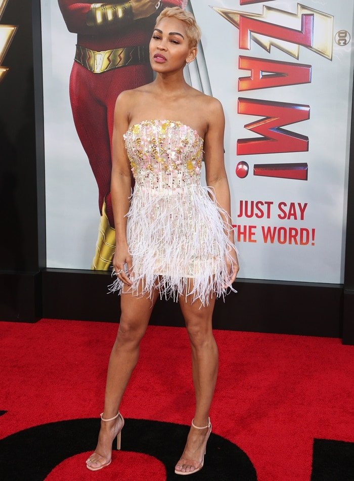 Meagan Good paraded her sexy legs at the premiere of her new movie Shazam! at the TCL Chinese Theatre in Hollywood on March 28, 2019