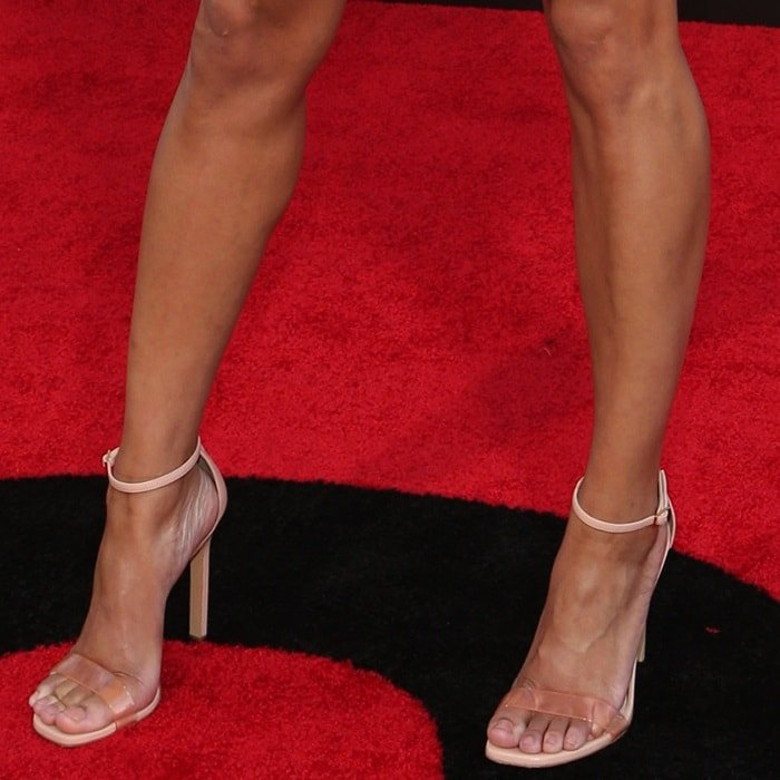 Meagan Good's hot feet and legs in Giuseppe Zanotti sandals