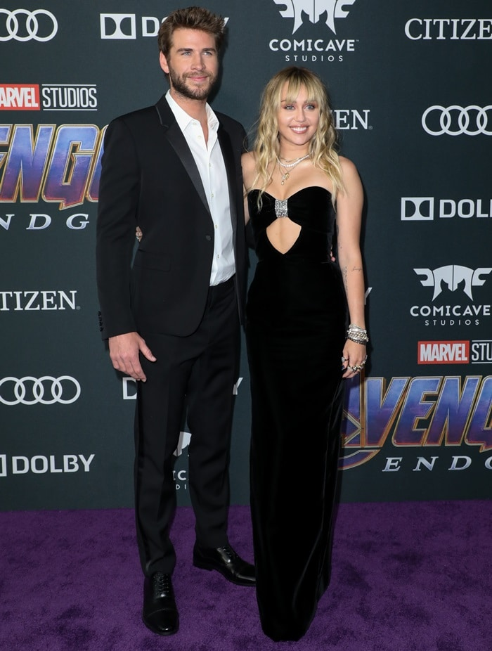 Miley Cyrus and Liam Hemsworth at the Avengers: Endgame premiere at the Los Angeles Convention Center in Los Angeles on April 22, 2019