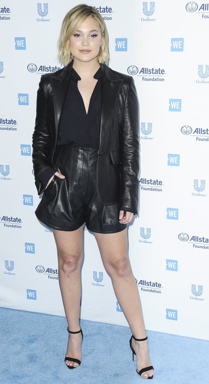 "Olivia Holt paraded her sexy legs in A.L.C. ""Julian"" shorts in calfskin leather"