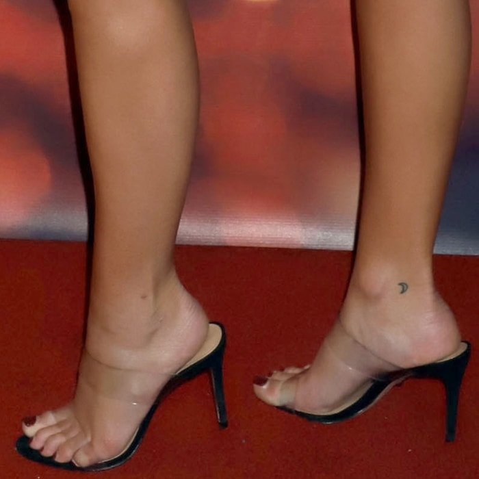 Olivia Holt's hot feet and toes in Ariella strappy see-through vinyl slide sandals