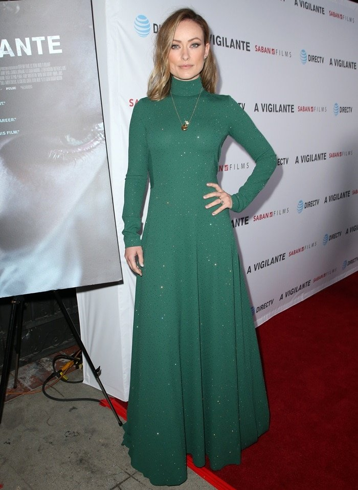 Olivia Wilde's crepe jersey dress on the red carpet at the premiere of A Vigilante at the Vista Theatre in Los Angeles on March 27, 2019