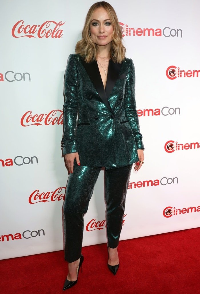 Olivia Wilde's green sequined suit at the 2019 CinemaCon Awards at The Colosseum at Caesars Palace in Las Vegas on April 5, 2019