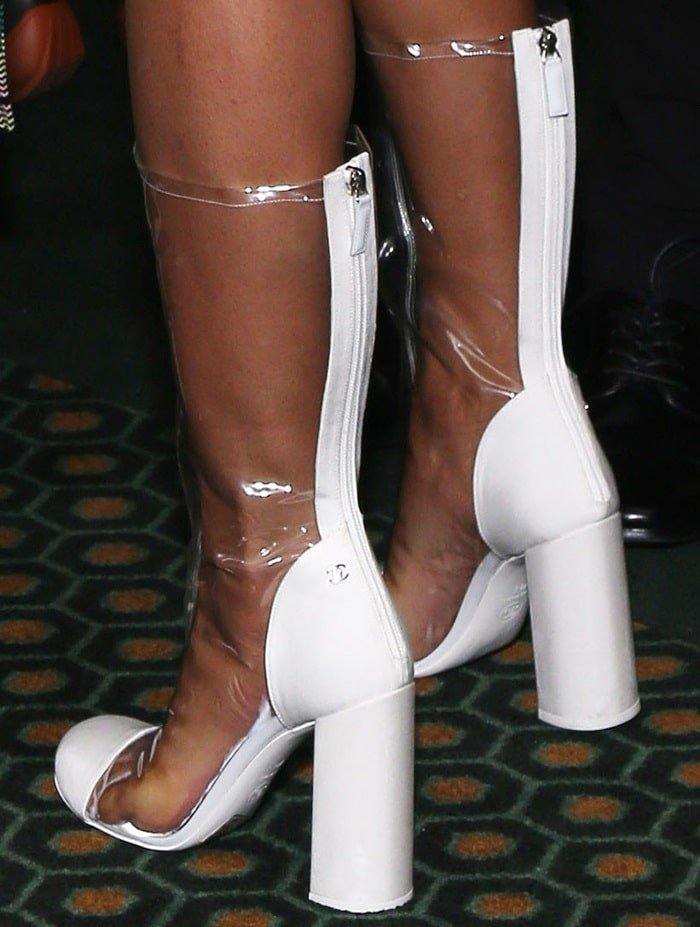 Priyanka Chopra's sweaty feet in ghastly PVC and grosgrain transparent knee-high boots