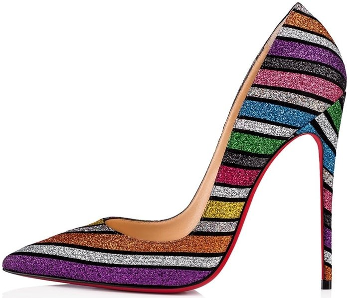 Made of suede and striped in multi-colored glitter, it cradles the foot with shine