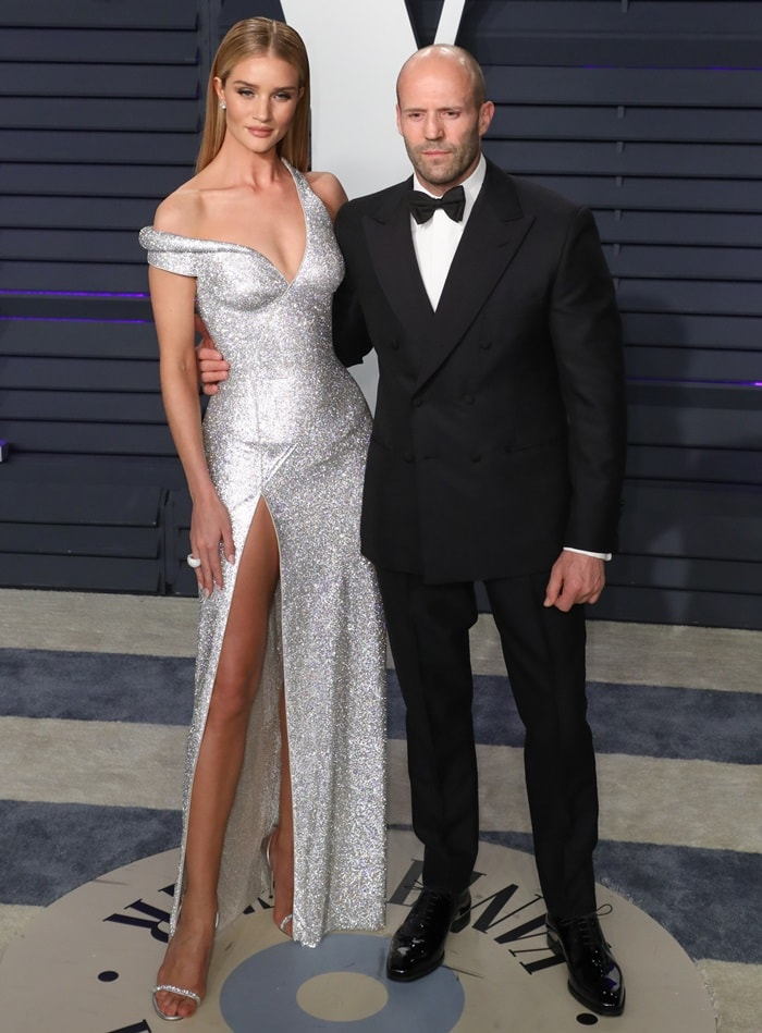 Rosie Huntington-Whiteley joined her longtime partner Jason Statham at the 2019 Vanity Fair Oscar Party at the Wallis Annenberg Center for the Performing Arts in Beverly Hills, California, on February 24, 2019