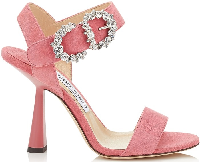 SERENO 100 Candyfloss Suede Sandals with Jewelled Buckle