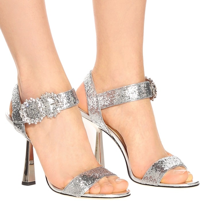 Silver Galactica Glitter Fabric Sereno Sandal with Jeweled Buckle