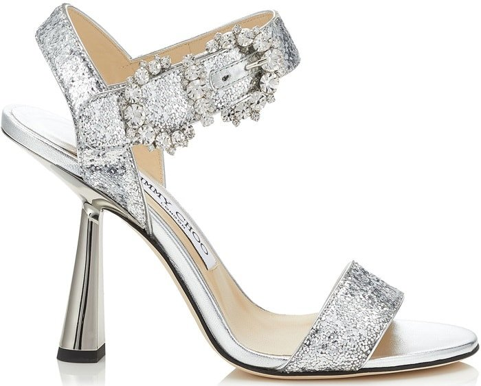 Add a glamorous finish to an enchanting evening ensemble with Jimmy Choo's Sereno 100 sandals