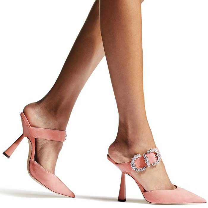 These shoes are crafted in Italy from soft suede, cut to a point toe and are set on a pink sculpted acetate stiletto heel that adds a contemporary slant to this vintage-inspired style