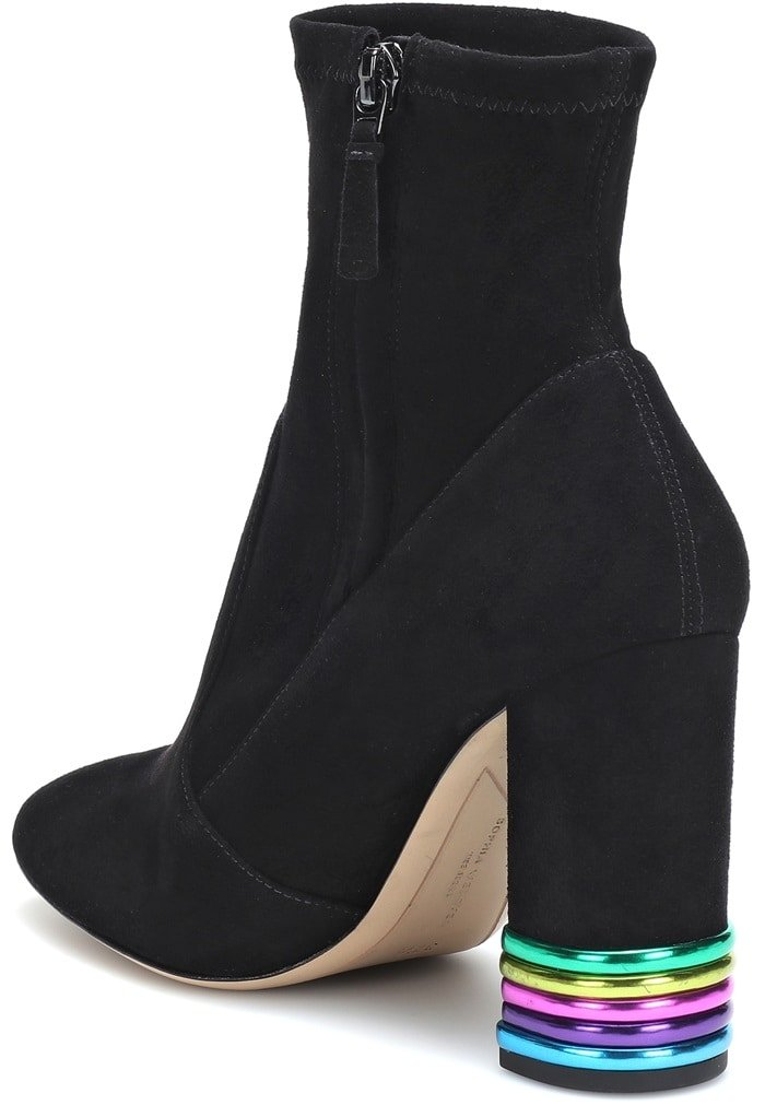 Chic black suede ankle boot with a metallic panel detail heel