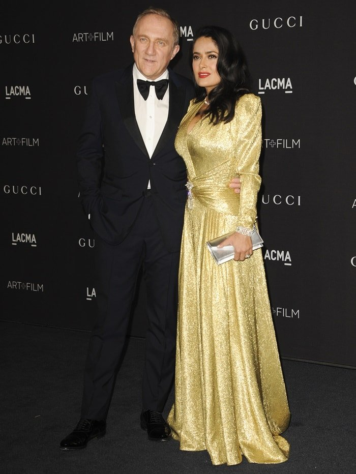 Salma Hayek and her husband Francois-Henri Pinault at the 2018 LACMA Art + Film Gala presented by Gucci at LACMA in Los Angeles on November 3, 2018
