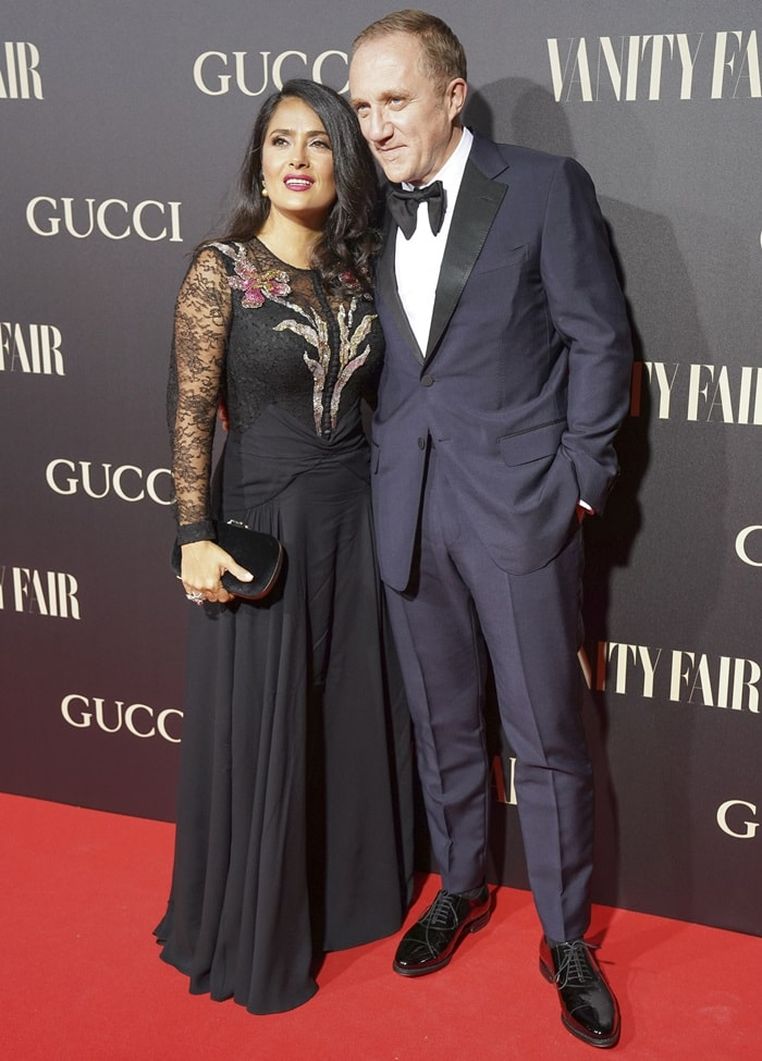 Salma Hayek and her husband Francois-Henri Pinault at Vanity Fair's Personality of the Year (Personaje del Ano) Awards held at Royal Theatre in Madrid, Spain, on September 26, 2018