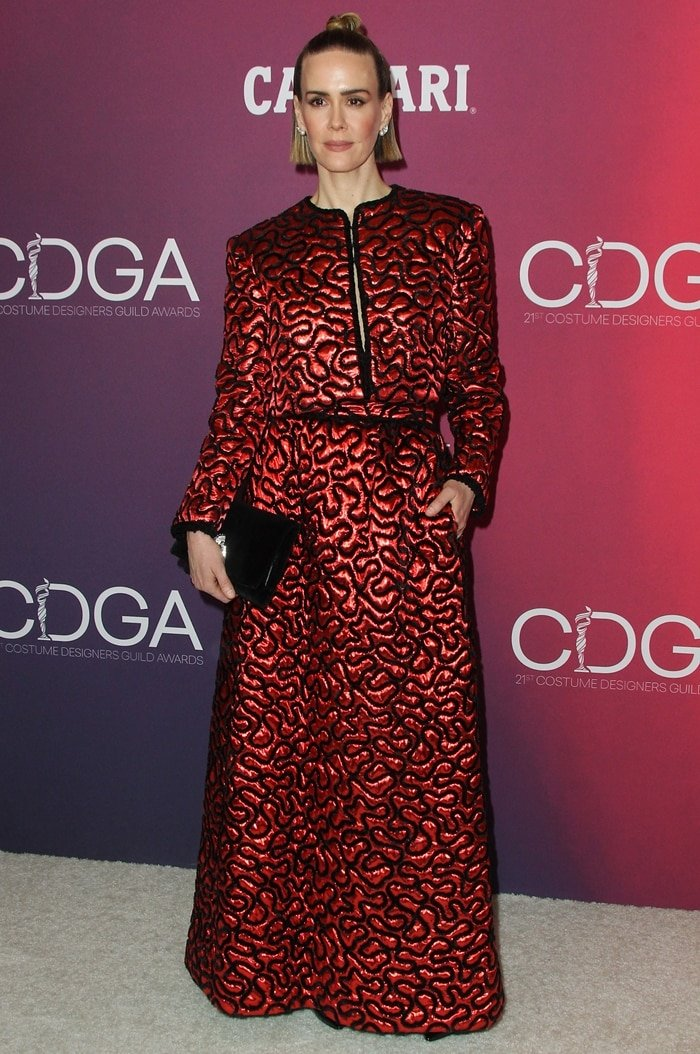 Sarah Paulson at the 2019 Costume Designers Guild Awards at The Beverly Hilton Hotel in Beverly Hills, California, on February 19, 2019