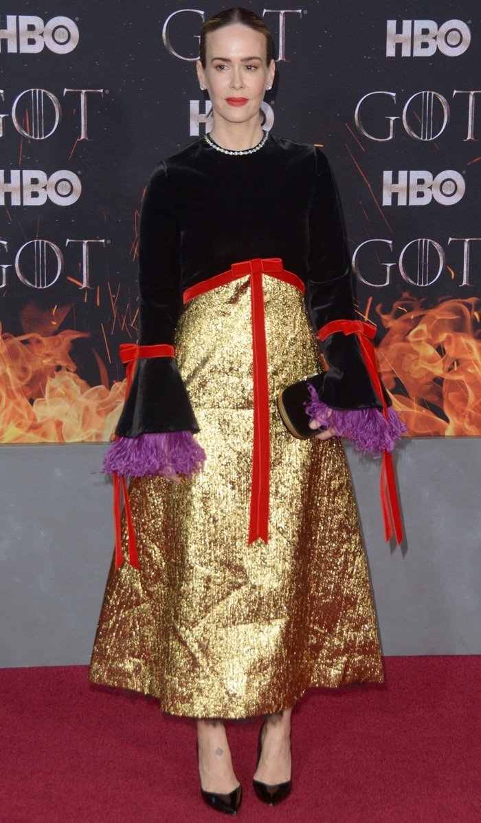 Sarah Paulson styled the ugliest Gucci dress of all time with Stella Luna shoes